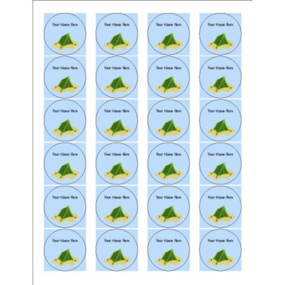 Summer Camp Tent Round Labels, 24 per sheet