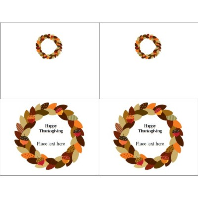 Acorn Wreath Note Card, 2 per sheet