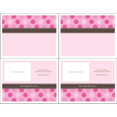 Pink Dots Birth Announcement Note Card, 2 per sheet - Wide