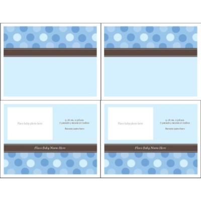 Blue Dots Birth Announcement Note Card, 2 per sheet - Wide