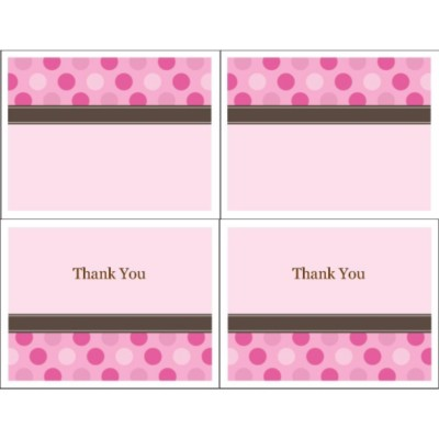 Pink Dots Thank You Note Card, 2 per sheet - Wide