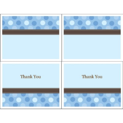 Blue Dots Thank You Note Card, 2 per sheet - Wide