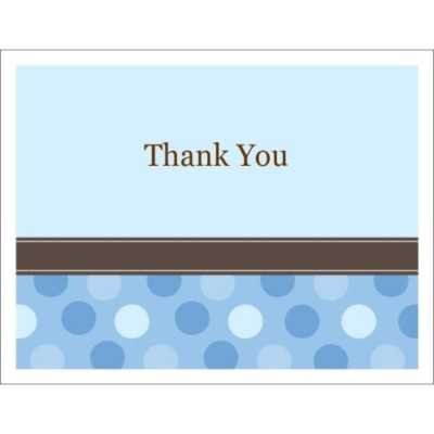 Templates - Blue Dots Thank You Note Card, 2 per sheet - Wide | Avery