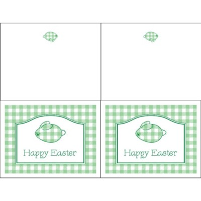 Gingham Easter Bunny Note Card - Wide, 2 per sheet
