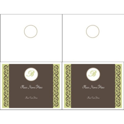 Toile Monogram Note Card - Wide, 2 per sheet