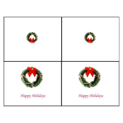 Christmas Wreath Note Card, 2 per sheet