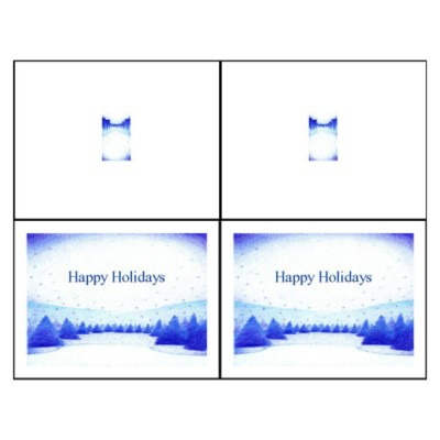 Winter Snow Scene Note Card, 2 per sheet