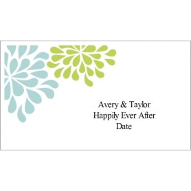 templates wedding shower blue green flowers on business card