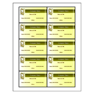 Dental Business Card, 10 per sheet