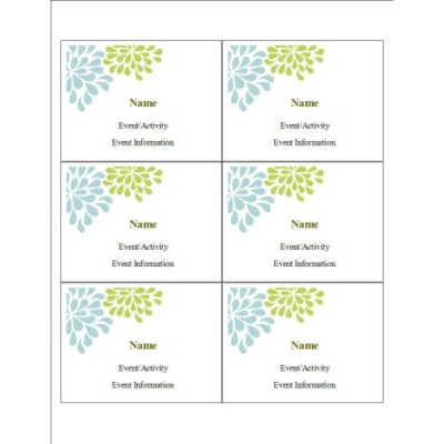 Wedding Shower Blue & Green Flowers Name Badge Insert, 6 per sheet