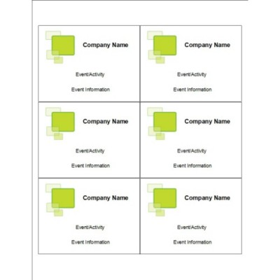 Green Squares Name Badge Insert, 6 per sheet