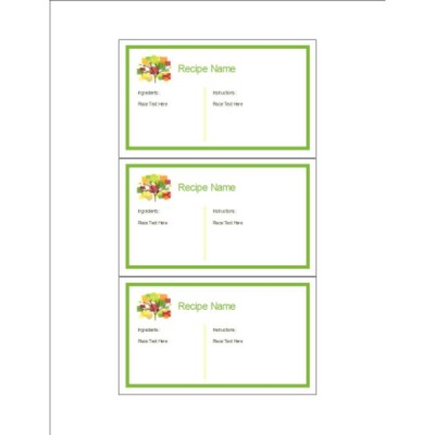 Family Reunion Recipe Cards with Tree, 3 per sheet