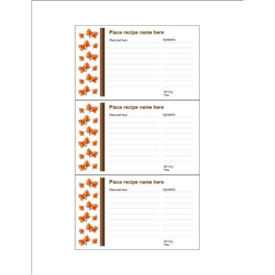 Thanksgiving Fall Leaves Index Card, 3 per sheet
