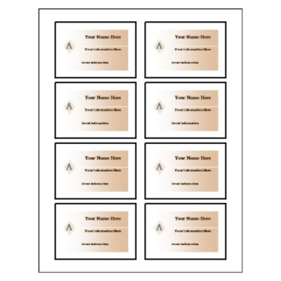 Beige Design Name Badge Label, 8 per sheet