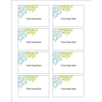 Wedding Shower Blue & Green Flowers Name Badge Label, 8 per sheet