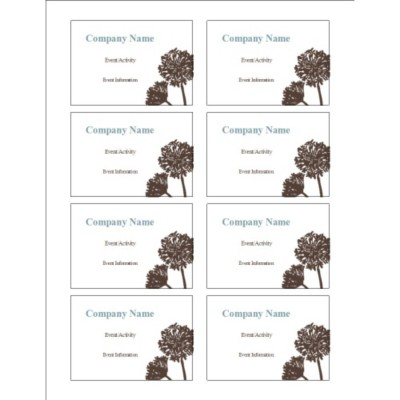 Brown Tree Name Badge Label, 8 per sheet