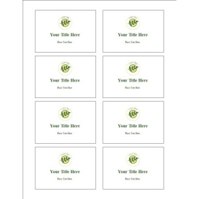 Green Sprig with Background Name Badge Label, 8 per sheet