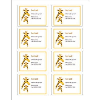 Mom and Baby Giraffe Name Badge Labels, 8 per sheet
