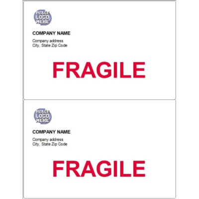 Basic Shipping Label with Fragile, 2 per sheet