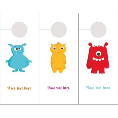 Cute Monsters Closet or Door Hangers, 3 per sheet