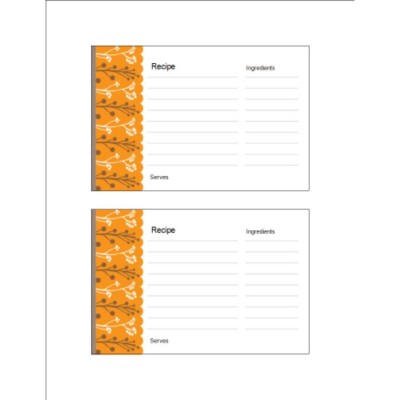 Autumn Colors Recipe Card on Postcards, 2 per sheet