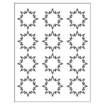 Burst Label, 12 per sheet