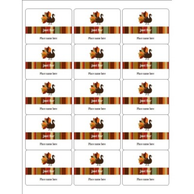 Elegant Turkey ID Labels, 15 per sheet