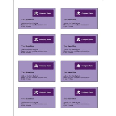 Classic Purple Business Card, 8 per sheet