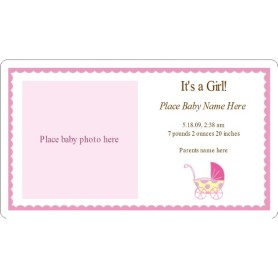Templates it 39 s a girl pink baby buggy birth for Avery membership card template
