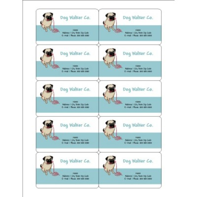 Cute Pug Dog Magnetic Business Card, 10 per sheet