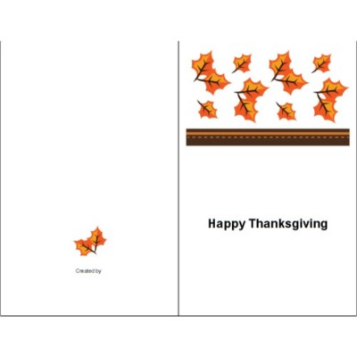 Thanksgiving Fall Leaves Half Fold Card, 1 per sheet