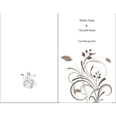 Wedding Swirls Half-Fold Card, Tall, 1 per sheet