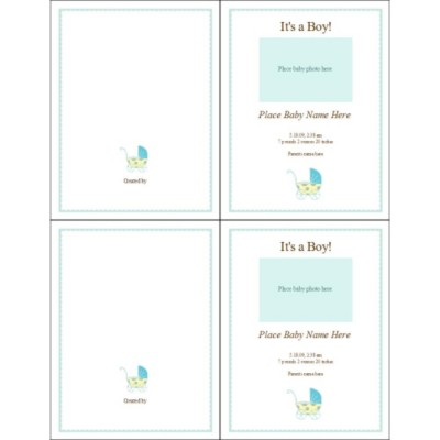 It's a Boy! Blue Baby Buggy Birth Announcement Note Card, 2 per sheet - Tall