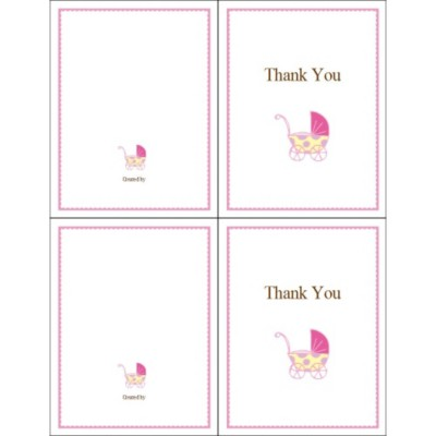 Pink Baby Buggy Thank You Note Card, 2 per sheet - Tall
