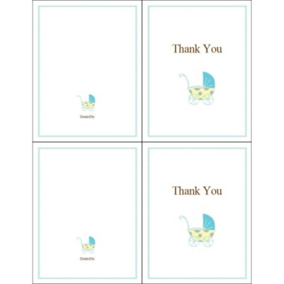 Blue Baby Buggy Thank You Note Card, 2 per sheet - Tall