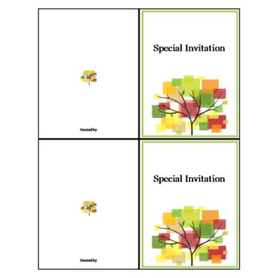 Tree Design Note Card - Tall, 2 per sheet
