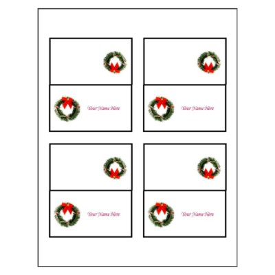 Christmas Wreath Small Tent Card, 4 per sheet