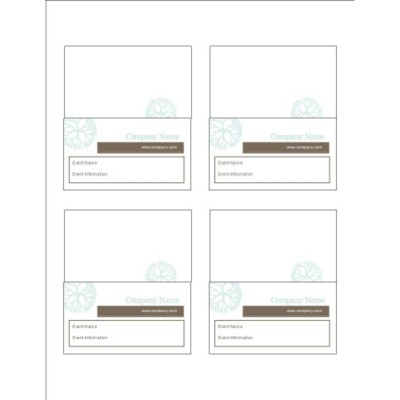 Turquoise Flowers with Brown Small Tent Cards, 4 per sheet