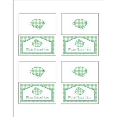 Gingham Easter Bunny Small Tent Card, 4 per sheet