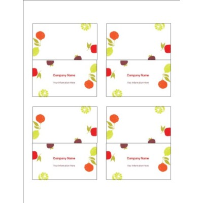 Fruits Design Small Tent Cards, 4 per sheet