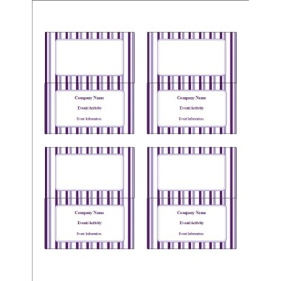 Classic Purple Stripes Small Tent Card, 4 per sheet