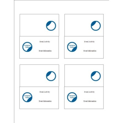 Blue Circle Design Small Tent Cards, 4 per sheet