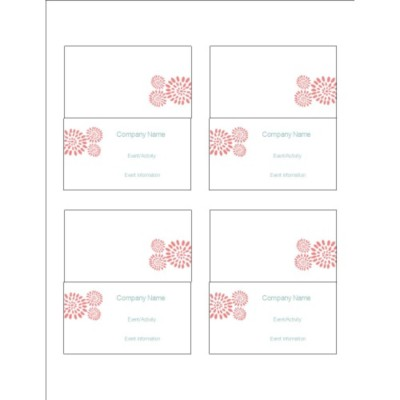 Pink Flower Burst Small Tent Card, 4 per sheet