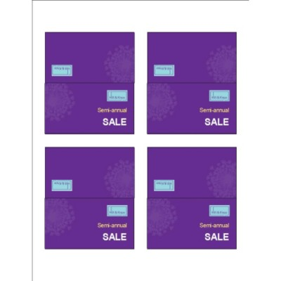 Purple Background Small Tent Cards, 4 per sheet