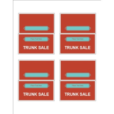 Bright Red Design Small Tent Cards, 4 per sheet