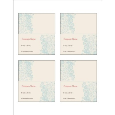 Blue Flourish Design Small Tent Cards, 4 per sheet