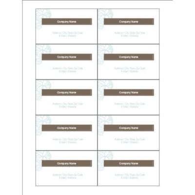 Turquoise Flowers with Brown Business Cards, 10 per sheet