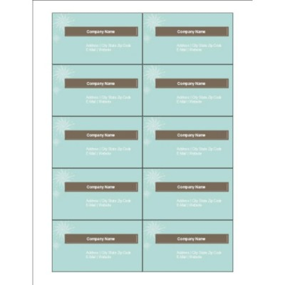 Turquoise and Brown Business Cards, 10 per sheet