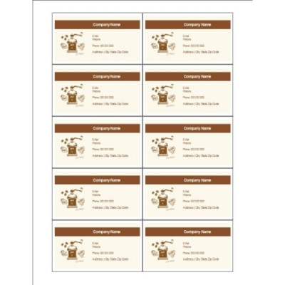 Coffee Grinder Business Cards, 10 per sheet