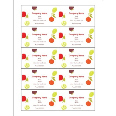 Fruits Design Business Cards, 10 per sheet